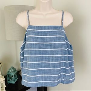 Universal Thread Chambray Striped Crop Top 001
